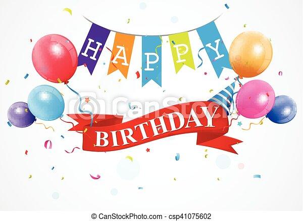 Vector Illustration Of Happy Birthday Greetings Card