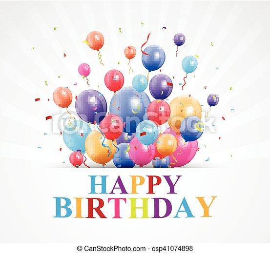 Vector illustration of happy birthday greetings with balloon and happy birthday greetings with ballo csp41074898 m4hsunfo
