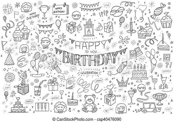 Happy birthday hand drawn abstract - csp40476090