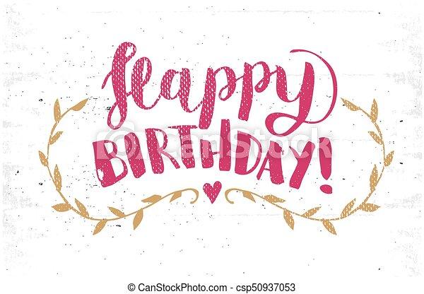 Happy birthday hand drawn calligraphy pen brush vector clipart