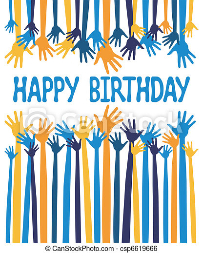 Happy Birthday Hands Card Design Happy Birthday Hands Card Design
