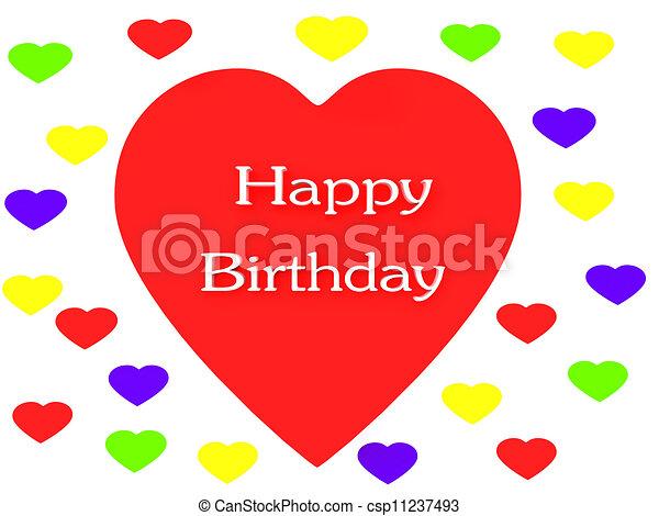 Happy Birthday Heart render (isolated on white) - csp11237493