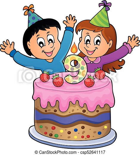 Wondrous Happy Birthday Image For 9 Years Old Eps10 Vector Illustration Funny Birthday Cards Online Elaedamsfinfo