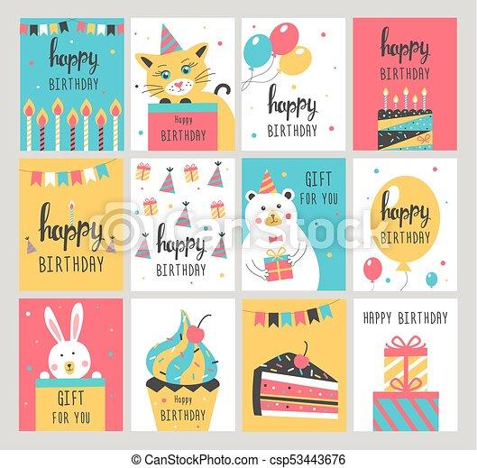 Happy Birthday Card Set Vector Illustration