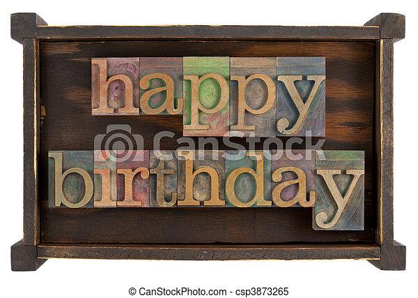 happy birthday in letterpress type - csp3873265