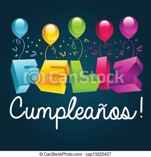 Happy Birthday In Spanish Happy Birthday Greeting Card Translated