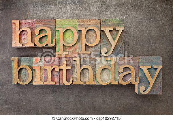 happy birthday in wood type - csp10292715