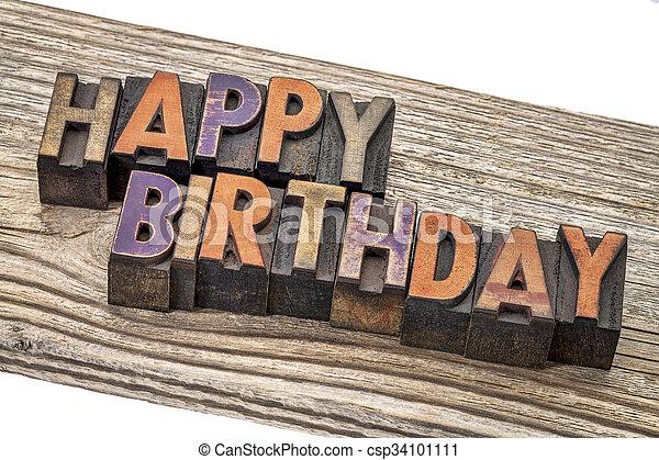 happy birthday in wood type - csp34101111