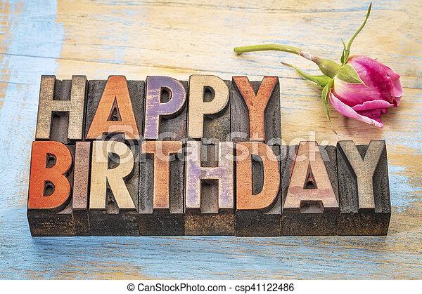 Happy Birthday in wood type - csp41122486