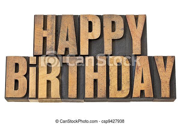 happy birthday in wood type - csp9427938
