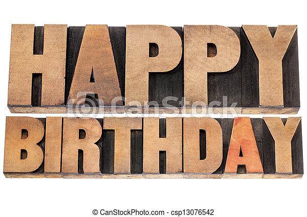 happy birthday in wood type - csp13076542