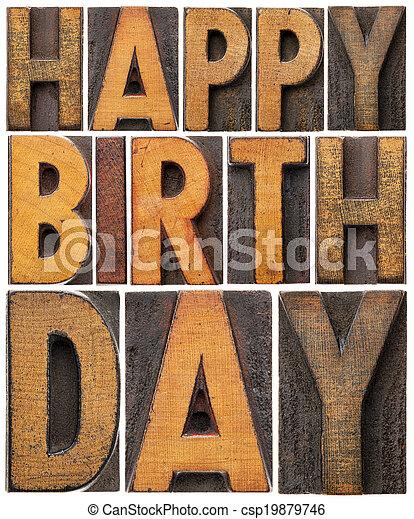happy birthday in wood type - csp19879746