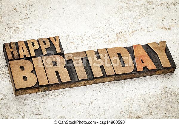 happy birthday in wood type - csp14960590