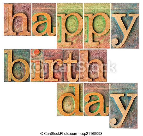 happy birthday in wood type - csp21168093