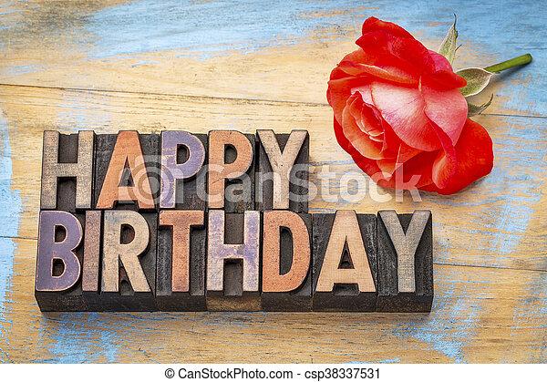 Happy Birthday in wood type - csp38337531
