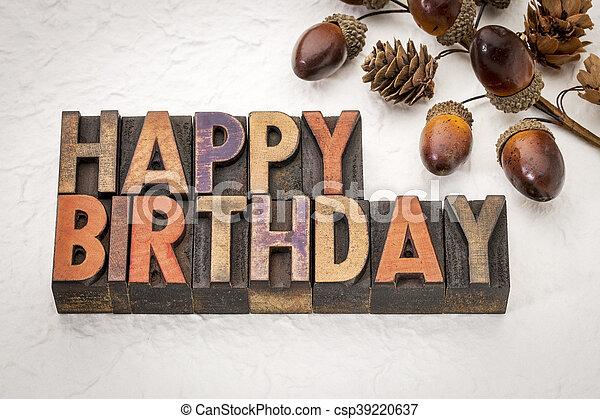 Happy Birthday in wood type - csp39220637