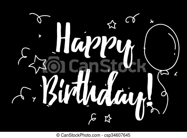 Happy Birthday Inscription Greeting Card With Calligraphy Hand Drawn Design Elements Black And White Usable As Photo Overlay