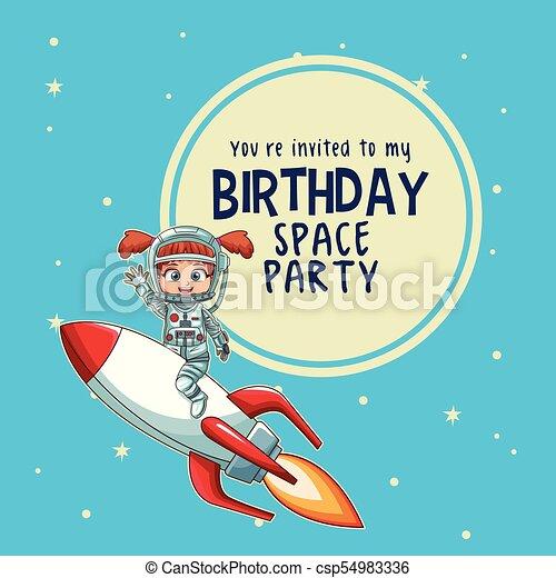 Happy birthday invitation card astronauts kids cartoons vector happy birthday invitation card csp54983336 stopboris Image collections