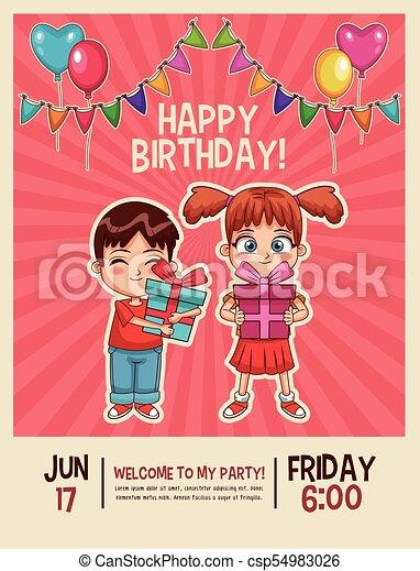 Happy birthday invitation card happy birthday kids invitation card happy birthday invitation card csp54983026 stopboris Choice Image
