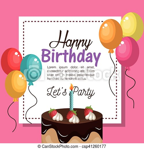 Happy birthday invitation card vector illustration design happy birthday invitation card csp41260177 stopboris Image collections