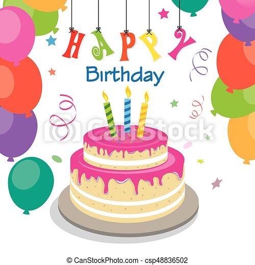 Happy birthday invitation with sweet cake happy birthday invitation csp48836502 stopboris Choice Image