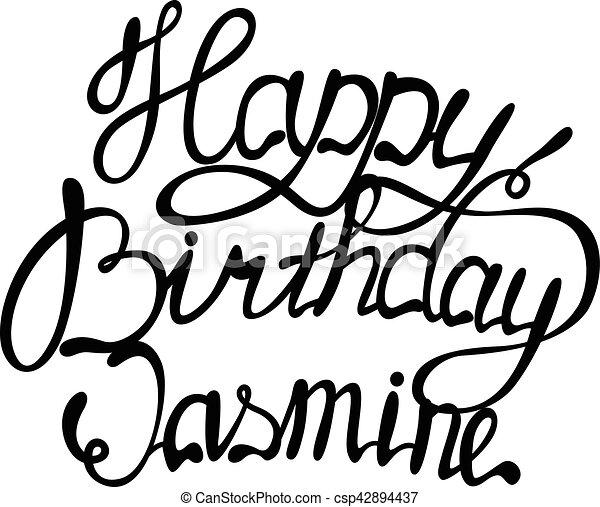 vector happy birthday jasmine name lettering vectors search clip rh canstockphoto com Jasmine Happy Birthday Meme Happy Birthday Jasmine Cake