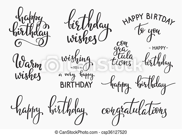 Happy Birthday Lettering Sign Quote Typography Set Calligraphy Design For Postcard Poster Graphic Simple Vector Brush