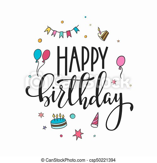 Happy Birthday Lettering Typography Congratulations Lettering Sign