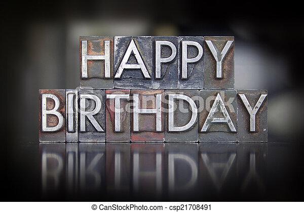 Happy Birthday Letterpress - csp21708491