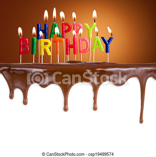 Happy birthday lit candles on chocolate cake template - csp19499574