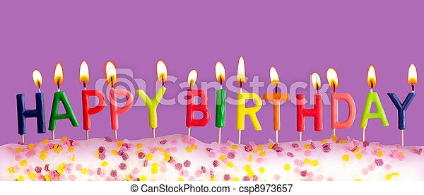 Happy birthday lit candles on purple background - csp8973657