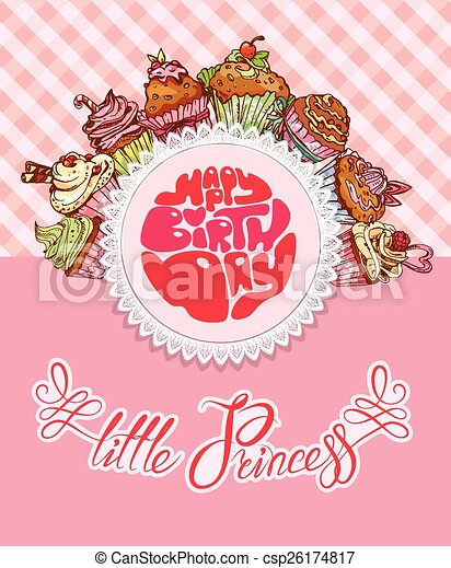 happy birthday little princess holiday card for girl with