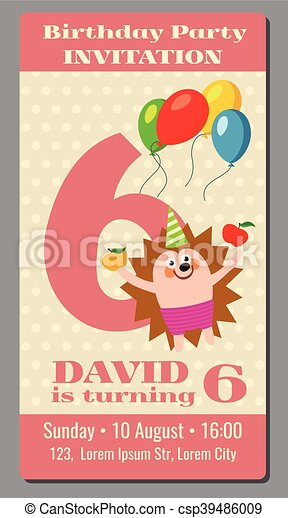 Happy birthday lovely vector card with funny hedgehog 6 vector happy birthday lovely vector card with funny hedgehog 6 years old bookmarktalkfo Choice Image