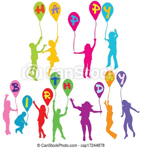 Happy birthday message with children silhouettes holding balloons - csp17244878