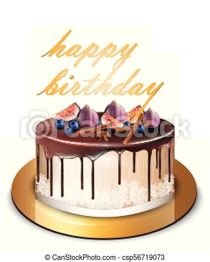 Remarkable Happy Birthday Modern Cake With Fig Fruits Vector Delicious Funny Birthday Cards Online Inifodamsfinfo