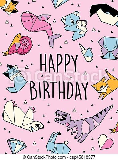 Happy Birthday Origami Card Happy Birthday Greeting Card Vector