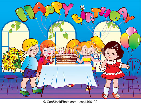 Happy birthday party good childhood vector vectors Search