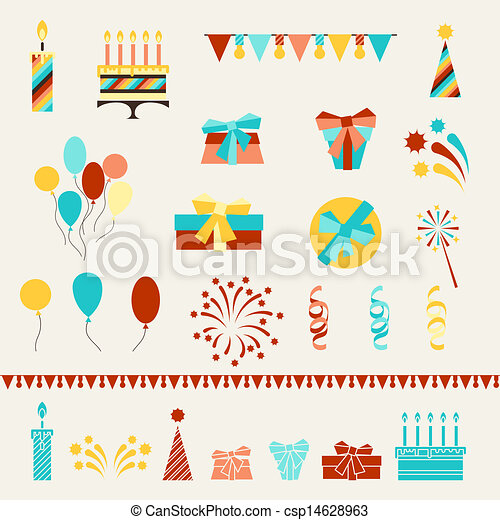 Happy Birthday party icons set. - csp14628963