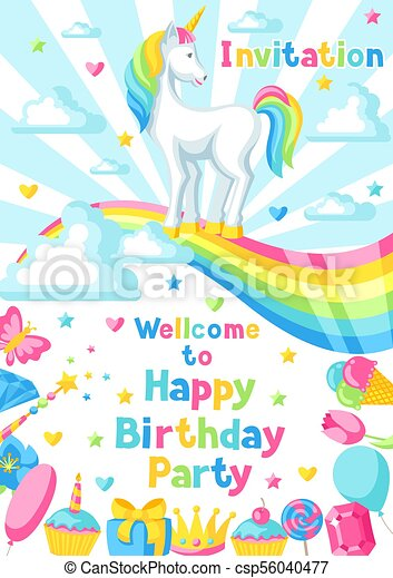 Happy Birthday Party Invitation With Unicorn And Fantasy Items