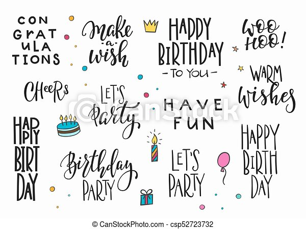 Happy Birthday Party Lettering Typography Set