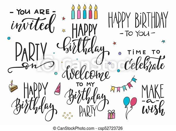 Happy Birthday Party Lettering Typography Set