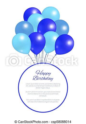 Happy Birthday Postcard Balloons Big Bundle Party Happy Birthday
