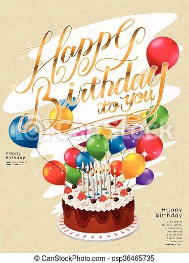 Happy birthday poster template design with lovely cake and balloons happy birthday poster template design csp36465735 maxwellsz