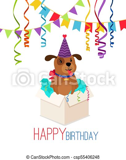 Happy Birthday Puppy In Box Card Happy Birthday Puppy In Box