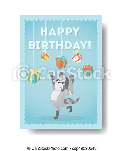 Happy Birthday Raccoon Birthday Gift Card With Decoration