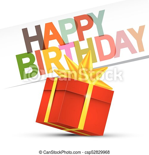 Happy Birthday. Red Gift Box on White Background. Vector. - csp52829968
