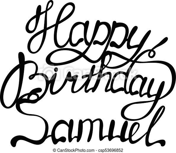 Happy Birthday Samuel Name Lettering Vector Happy Birthday