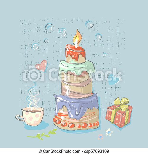 Happy Birthday Set Cute Elements With Big Cake Party