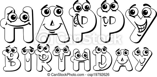 Happy Birthday Sign Coloring Page Black And White Cartoon Happy Anniversary Coloring Pages