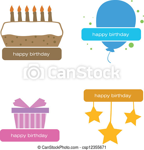 four isolated cute happy birthday signs birthday cake balloons